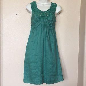 Max Studios Specialty Products Green Linen Dress M